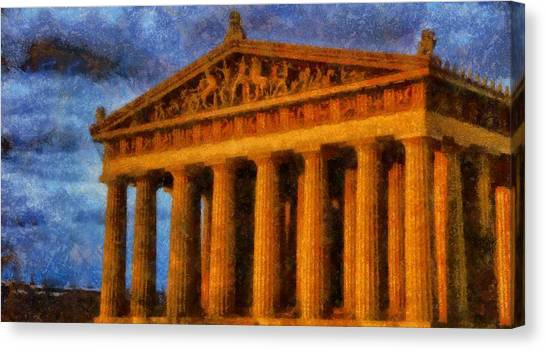 The Parthenon Canvas Print - Parthenon On A Stormy Day by Dan Sproul