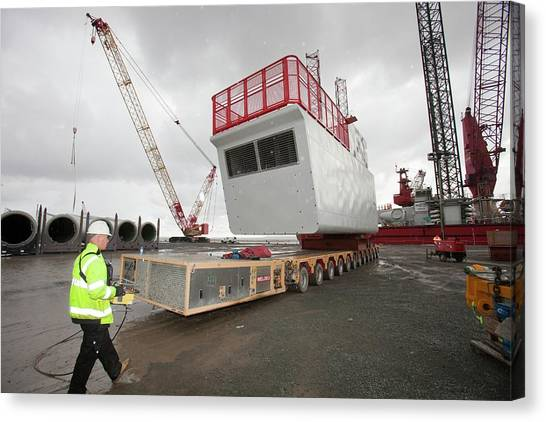 Hard Hat Canvas Print - Parts For The Walney Offshore Wind Farm by Ashley Cooper