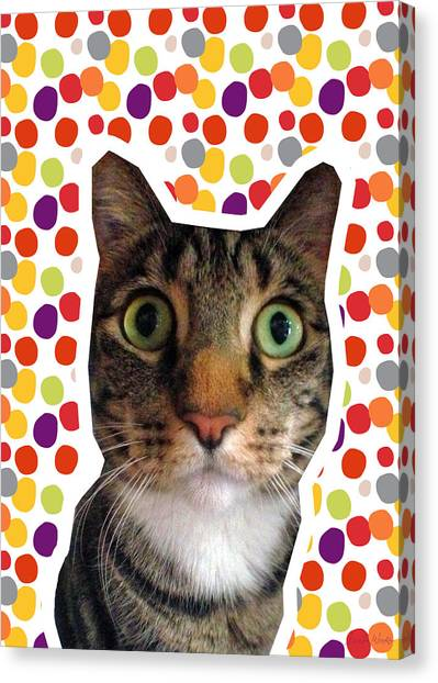 Tabby Canvas Print - Party Animal - Smaller Cat With Confetti by Linda Woods