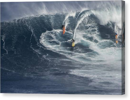 Jaws Canvas Print - Party Wave At Jaws  by Brad Scott