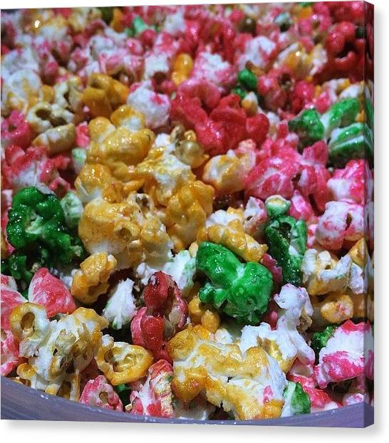 Popcorn Canvas Print - Partyyyyy  #colors #sweet #popcorn by Sophia Yang