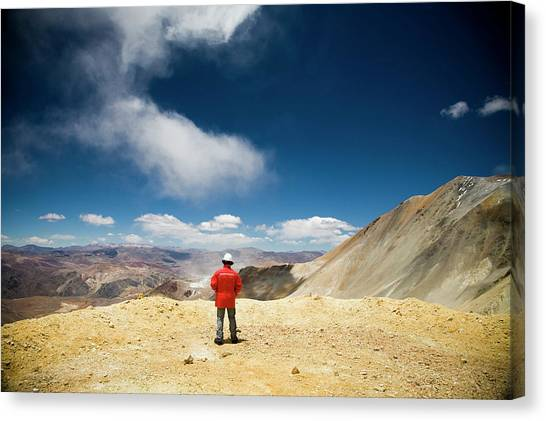 Andes Mountains Canvas Print - Pascua Lama Mine, Chile. A Worker by Michael Hanson