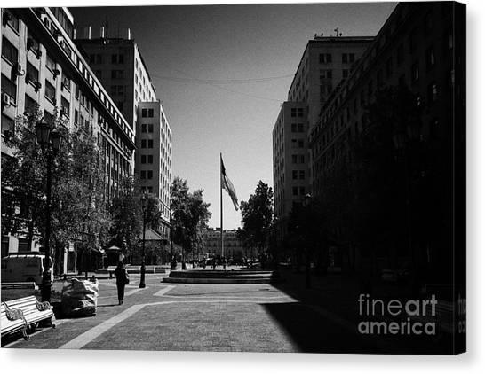 paseo bulnes looking towards bulnes square and la moneda palace Santiago Chile Canvas Print by Joe Fox