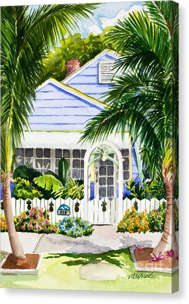 Pass-a-grille Cottage Watercolor Canvas Print