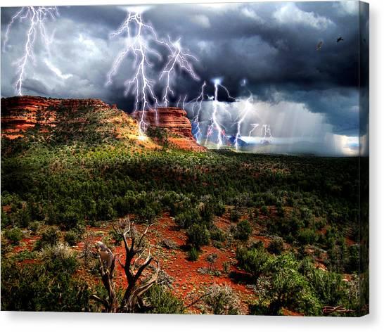Passing Storm Near Sedona Arizona Canvas Print by Ric Soulen