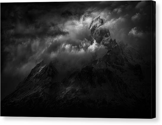 Chilean Canvas Print - Passing Storm Over The Paine Massif by Peter Svoboda, Mqep