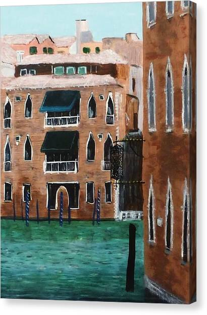 Canopy Canvas Print - Passing View Of The Grand Canal Venice by Nigel Radcliffe