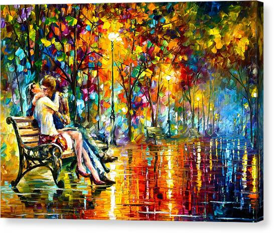 Park Benches Canvas Print - Passion Evening -  New by Leonid Afremov