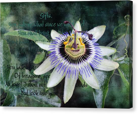 Canvas Print featuring the digital art Passion Flower 2 by Helene U Taylor