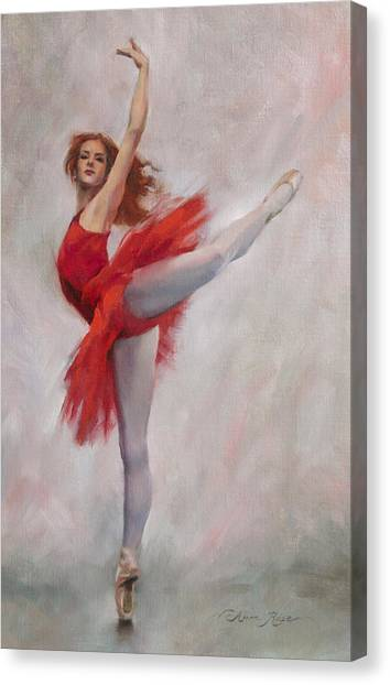 Ballerina Canvas Print - Passion In Red by Anna Rose Bain
