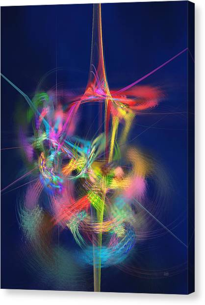Canvas Print featuring the digital art Passion Nectar - Circling The Flower Of Paradise by Menega Sabidussi