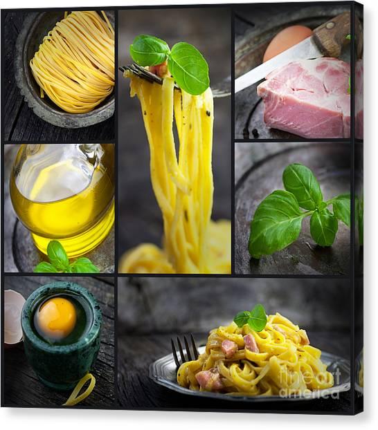 Pasta Carbonara Collage Canvas Print by Mythja  Photography