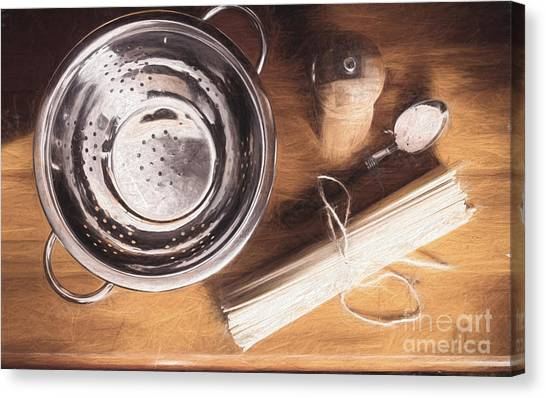 Ingredient Canvas Print - Pasta Preparation. Vintage Photo Sketch by Jorgo Photography - Wall Art Gallery