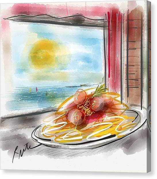 Spaghetti Canvas Print - #pasta #sunny #sea #spaghetti #food by Rene anthony Ninte