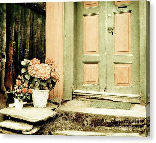 Pastel Colored Doorstep Canvas Print