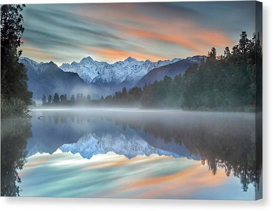 Mountain Ranges Canvas Print - Pastel Hues by Greg Metro