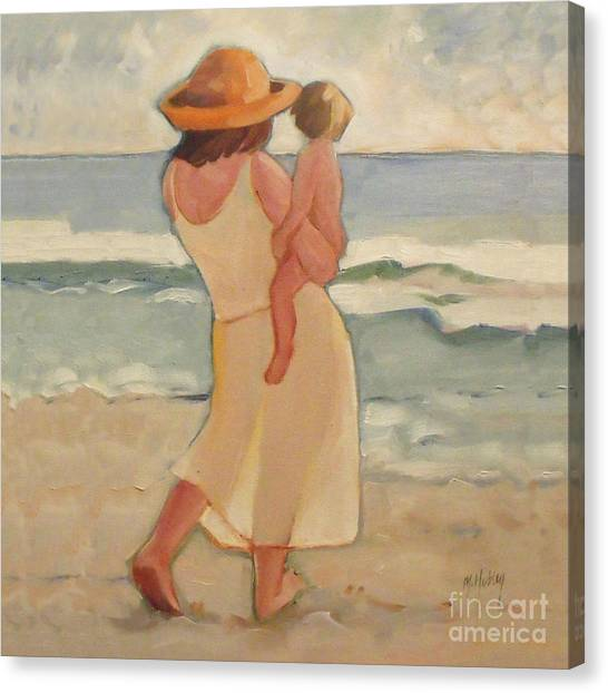 Sunrise Horizon Canvas Print - Pastel Morning Beach Pastel Morning Mother And Baby by Mary Hubley