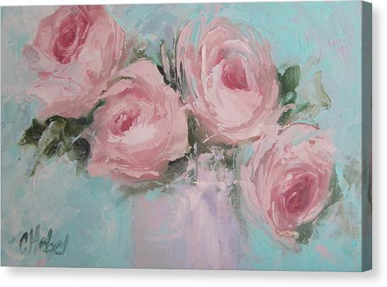 Pastel Pink Roses Painting Canvas Print
