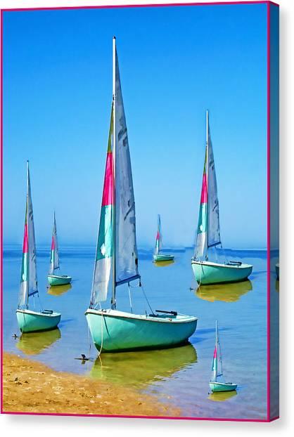 Pastel Sailboats Canvas Print