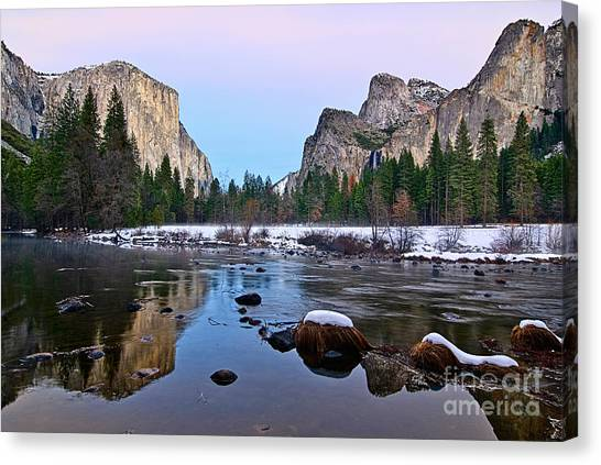 Foggy Forests Canvas Print - Pastel - Sunset View Of Yosemite National Park. by Jamie Pham