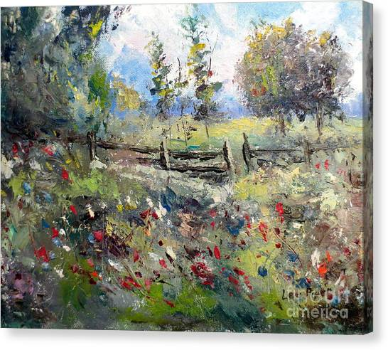Pasture With Fence Canvas Print