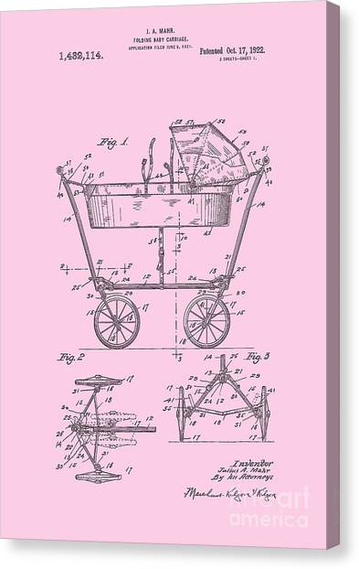 Patent Art Baby Carriage 1922 Mahr Design Pink Canvas Print