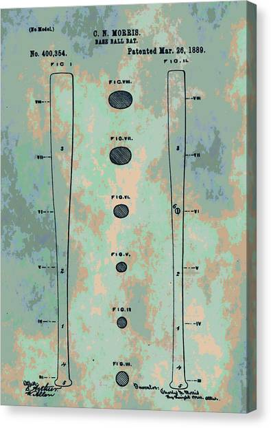 Lou Gehrig Canvas Print - Patent Art Baseball Bat by Dan Sproul