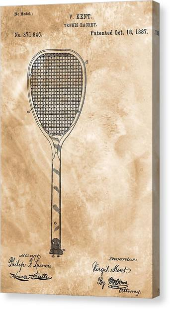 Tennis Racquet Canvas Print - Patent Art Tennis Racket by Dan Sproul