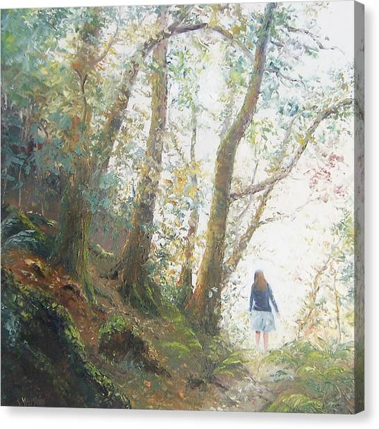 Girl In Landscape Canvas Print - Path In The Woods by Jan Matson