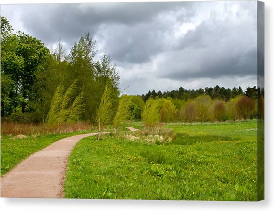 Canvas Print - path leading through the English countryside on a stormy overcas by Fizzy Image