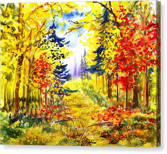 Irina Canvas Print - Path To The Fall by Irina Sztukowski