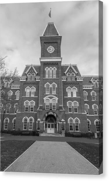 Ohio State University Canvas Print - Path To University Hall Black And White  by John McGraw
