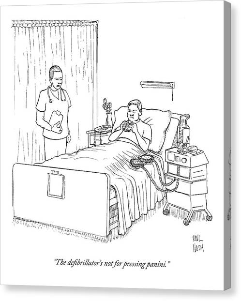 Sandwich Canvas Print - Patient Eating Sandwich In Hospital Bed by Paul Noth