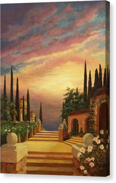 Summer Canvas Print - Patio Il Tramonto Or Patio At Sunset by Evie Cook