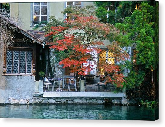 Patio On The River Canvas Print