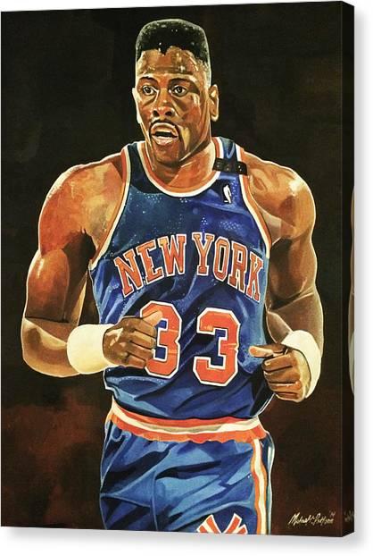 New York Knicks Canvas Print - Patrick Ewing New York Knicks by Michael  Pattison