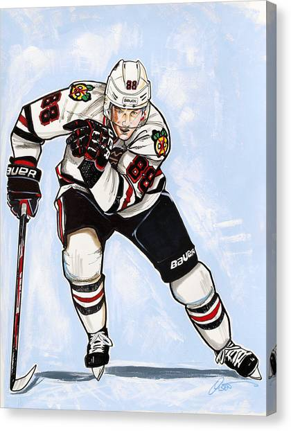 Patrick Kane Canvas Print - Patrick Kane Of The Chicago Blackhawks by Dave Olsen