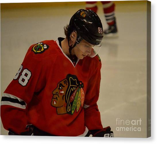 Patrick Kane Canvas Print - Patrick Kane Reflects by Melissa Goodrich