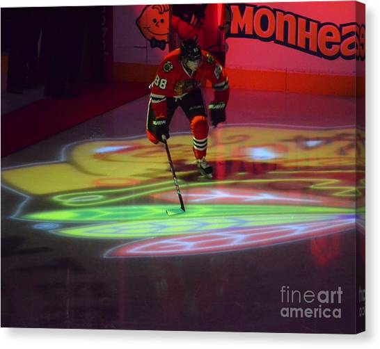 Patrick Kane Canvas Print - Patrick Kane Takes The Ice by Melissa Goodrich