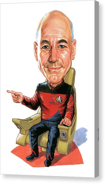 Star Trek Canvas Print - Patrick Stewart As Jean-luc Picard by Art