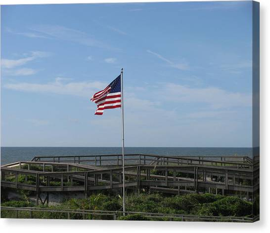Patriotic Beach View Canvas Print