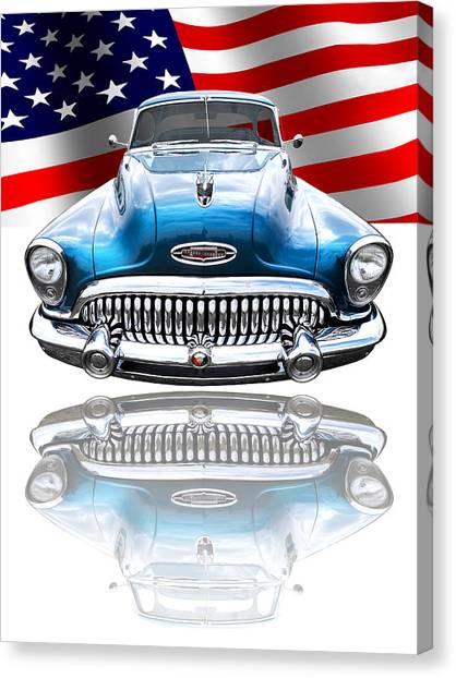 American Independance Canvas Print - Patriotic Buick Riviera 1953 by Gill Billington
