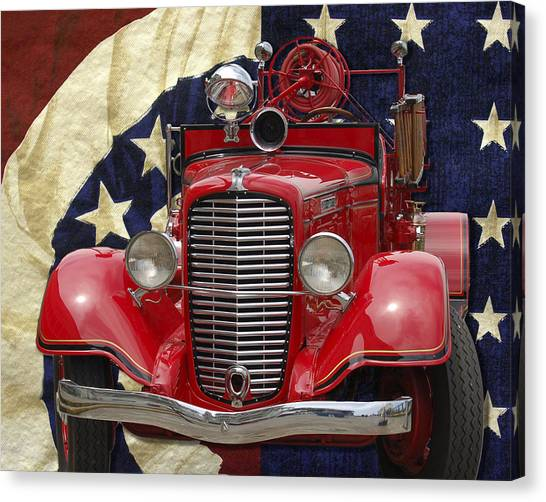 Canvas Print featuring the photograph Patriotic Fire Truck by William Havle
