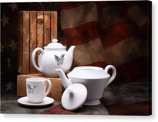 American Flag Canvas Print - Patriotic Pottery Still Life by Tom Mc Nemar