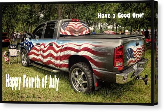 Patriotic Truck Canvas Print