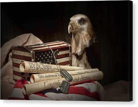 Statue Canvas Print - Patriotism by Tom Mc Nemar