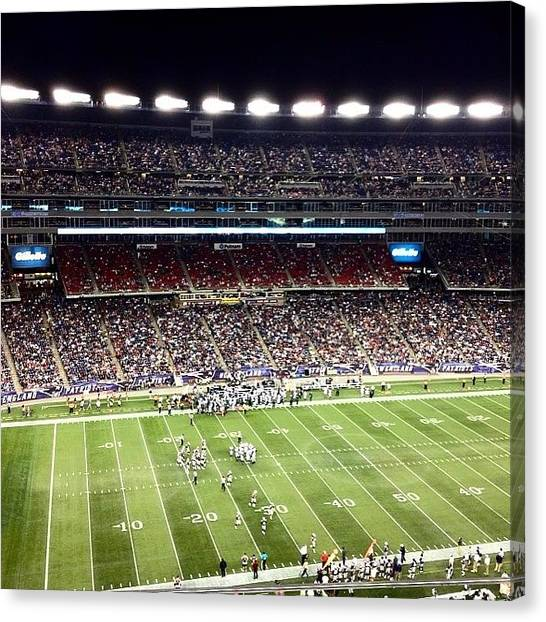 Football Teams Canvas Print - Patriots Game by Mel Garvin