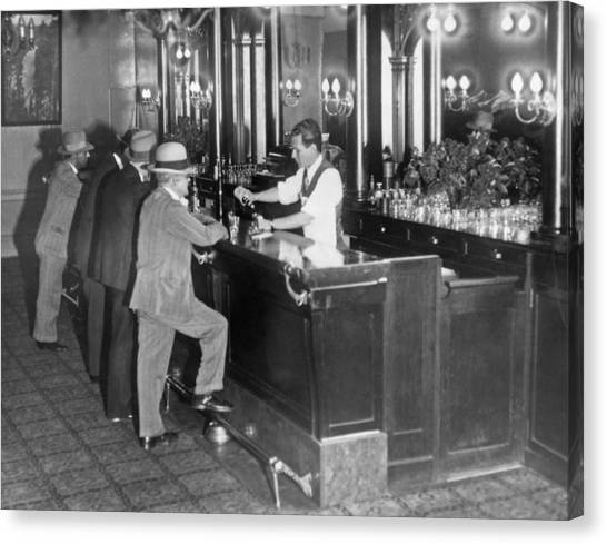 Bartender Canvas Print - Patrons At A Speakeasy In Sf by Underwood Archives