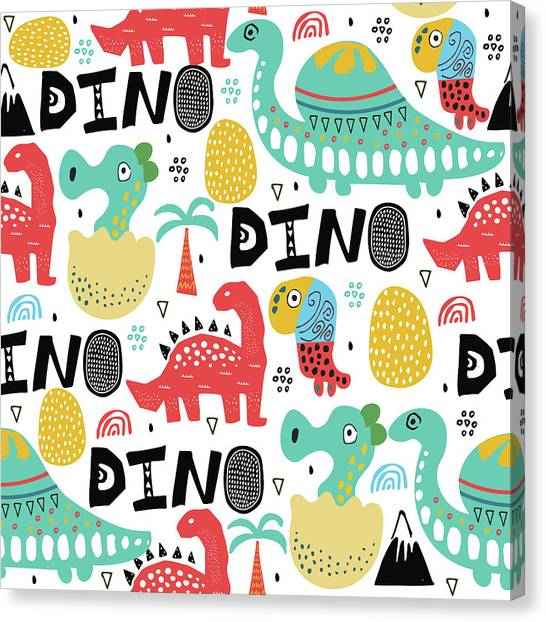 Printmaking Canvas Print - Pattern With Dino,dinosaur With Palms by Olechkaolia