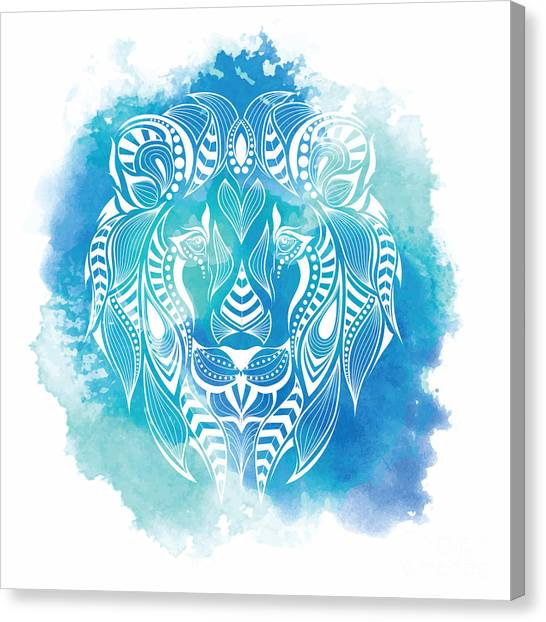Teeth Canvas Print - Patterned Colored Head Of The Lion by Sunny Whale